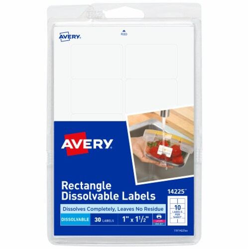 Avery Rectangle Dissolvable Labels - White Perspective: front