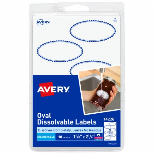 Avery Oval Dissolvable Labels - White Perspective: front