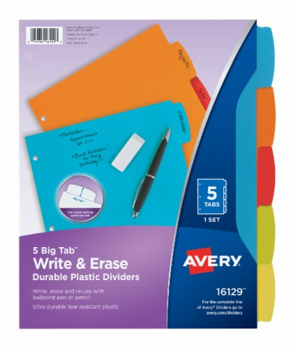 Avery Write-On Plastic Dividers - Bright Perspective: front