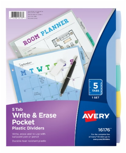 Avery Durable Write & Erase Plastic Dividers with Pockets Perspective: front