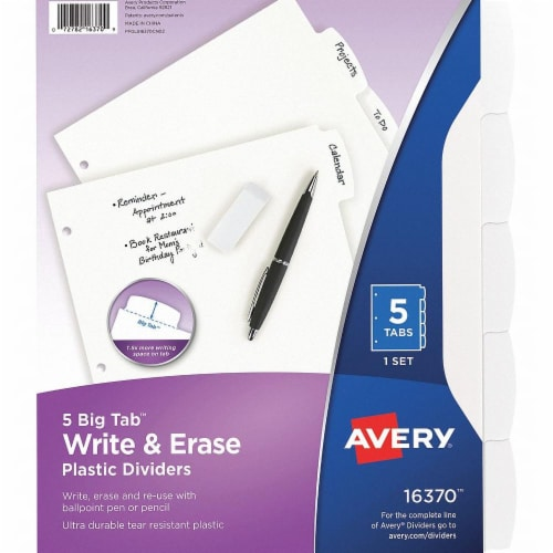 Avery Binder Divider,Write-On Tabs,White  7278216370 Perspective: front