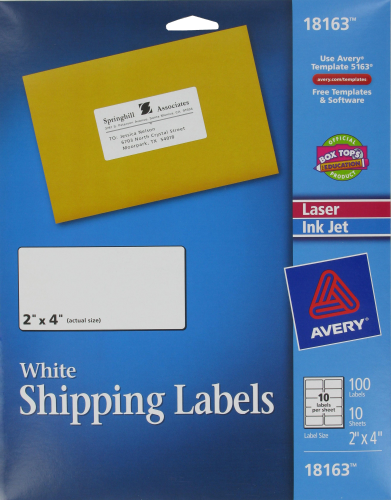 Avery Shipping Labels - 100 Pack - White Perspective: front