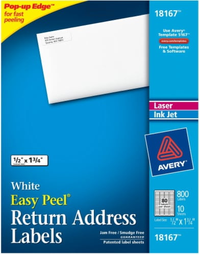 Avery Easy Peel Return Address Label 800 Pack - White Perspective: front