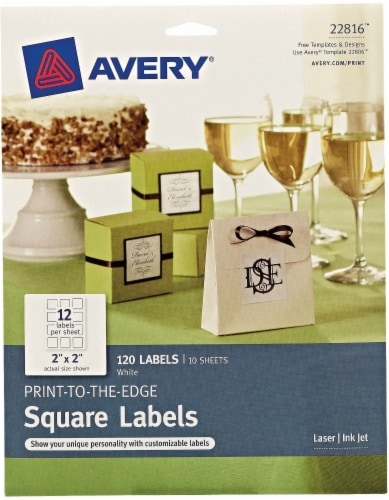 Avery Print-to-the-Edge Squares Labels - 120 Pack - White Perspective: front