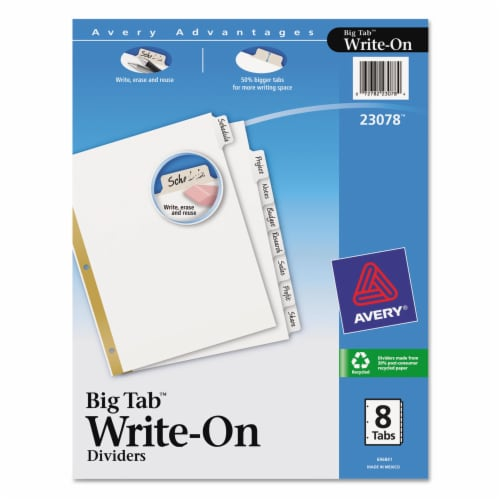 Avery Binder Divider,Write-On Tabs,White  7278223078 Perspective: front