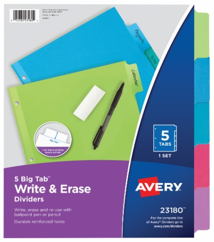 Avery Big Tab Write & Erase Dividers Perspective: front