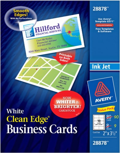Avery Clean Edge Business Cards - 90 Pack - White Perspective: front
