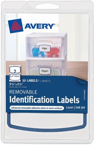 Avery Removable Identification Labels - 10 Pack - White - 3.75 x 2.5 Inch Perspective: front
