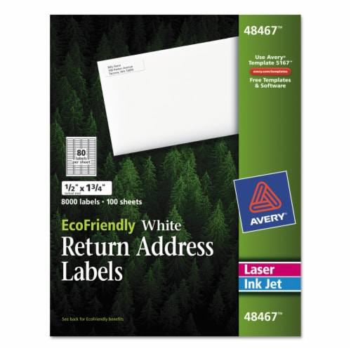Avery Label,Rtn Add,Eco80up,Wh 48467 Perspective: front