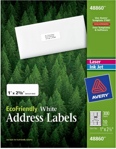 Avery Eco-Friendly Address Labels 300 Pack - White Perspective: front