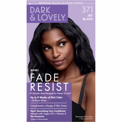 Dark & Lovely 371 Jet Black Fade Resist Hair Color Perspective: front