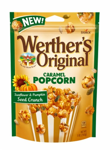 Wether's Originals Caramel Popcorn with Sunflower and Pumpkin Seeds Perspective: front