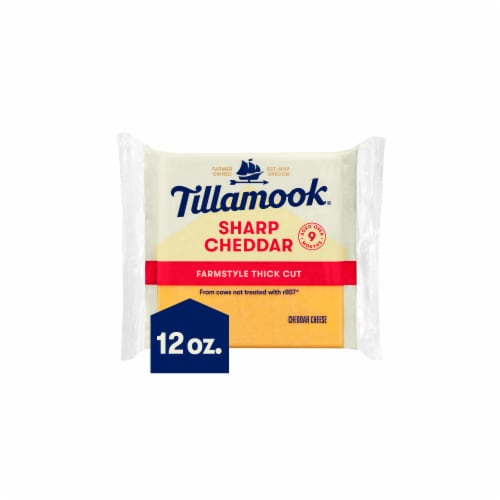 Tillamook Sharp Cheddar Farmstyle Thick Cut Cheese Slices 12 Count Perspective: front