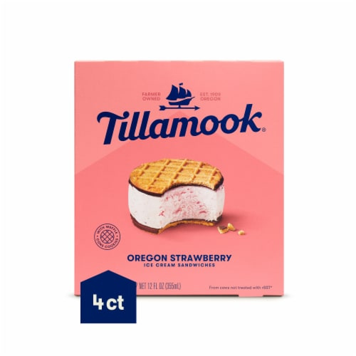 Tillamook Oregon Strawberry Ice Cream Sandwich 4 Count Perspective: front