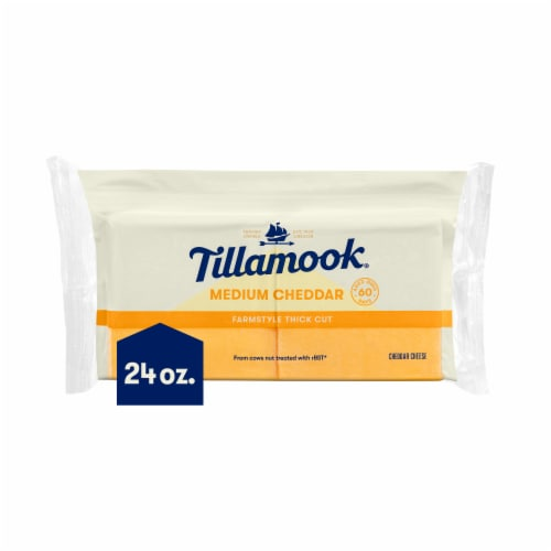Tillamook Farmstyle Thick Cut Medium Cheddar Thick Cheese Slices 24 Count Perspective: front