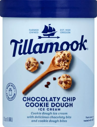 Tillamook Chocolaty Chip Cookie Dough Ice Cream Perspective: front