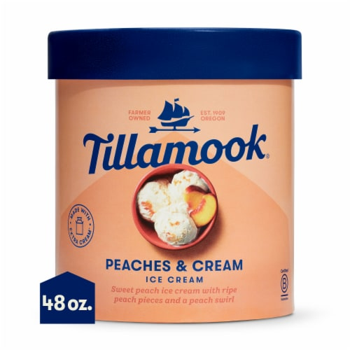 Tillamook Peaches & Cream Ice Cream Perspective: front