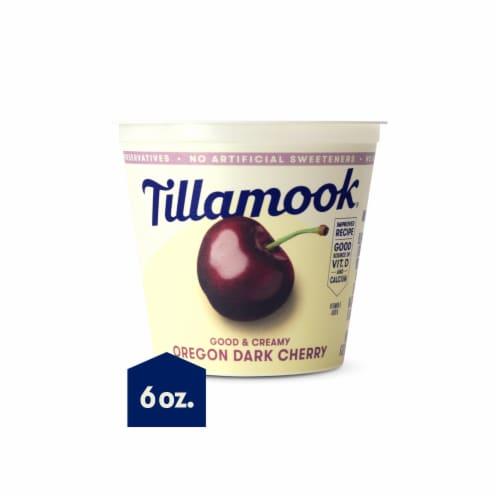 Tillamook Good & Creamy Oregon Dark Cherry Lowfat Yogurt Perspective: front