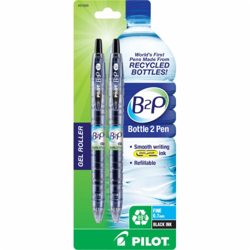 Pilot B2P Gel Roller Recycled Fine Point Pens - Black Perspective: front