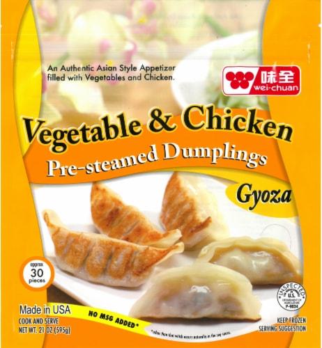 Wei-Chuan Pre-Steamed Vegetable & Chicken Gyoza Dumplings Perspective: front