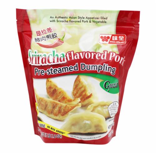Wei-Chuan Sriracha Flavored Pork Pre-Steamed Dumplings Perspective: front