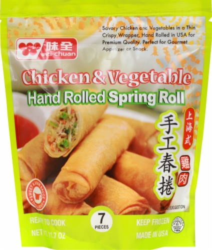 Wei-Chuan Chicken & Vegetables Spring Rolls Perspective: front