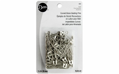 Dritz Quilt Safety Pin Curved Basting Size2 75pc Perspective: front