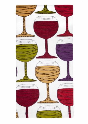 RITZ Wine Glasses Print Dual Kitchen Towel Perspective: front