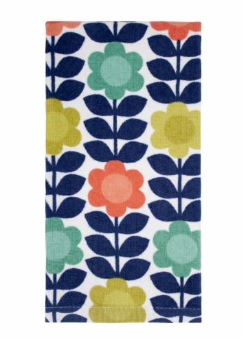 RITZ Fiber Reactive Flower Vine Kitchen Towel Perspective: front