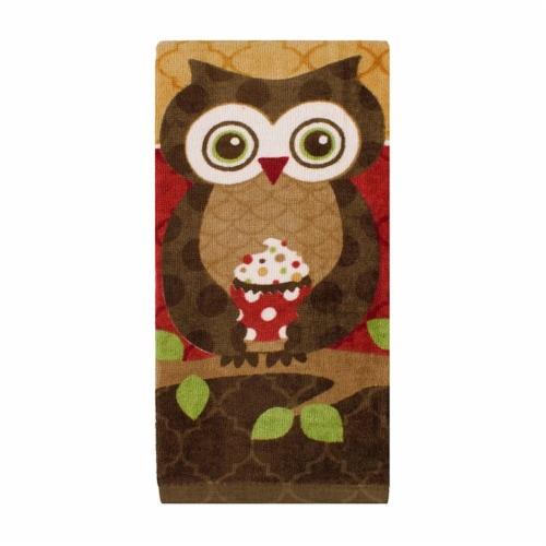 RITZ® 80603 Fiber Reactive Kitchen Towel Patterend Owl Perspective: front
