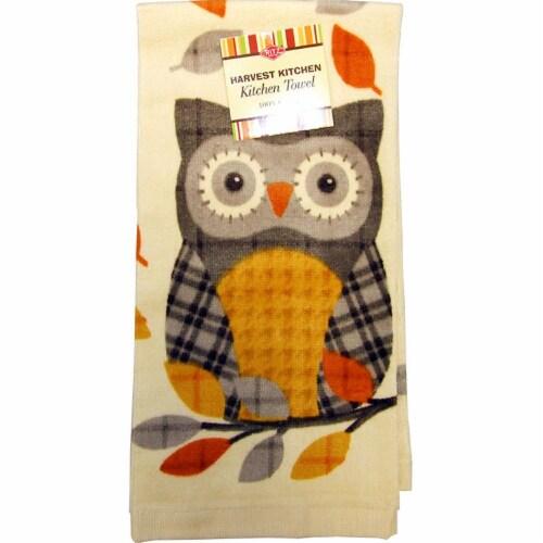 RITZ® 13768 Fiber Reactive Kitchen Towel 16x25 PLAID OWL GREY Perspective: front