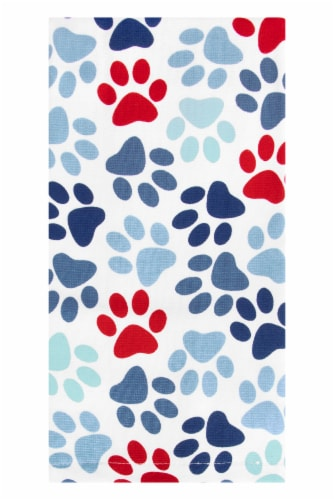 RITZ® Red & Blue Pet Paws Dual Print Kitchen Towel Perspective: front