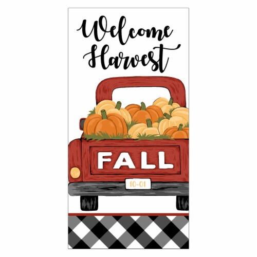 Print Dual Welcome Harvest Truck Red Kitchen Towel Perspective: front