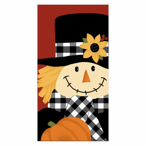 Fiber Reactive Pumpkin Scarecrow Kitchen Towel Perspective: front