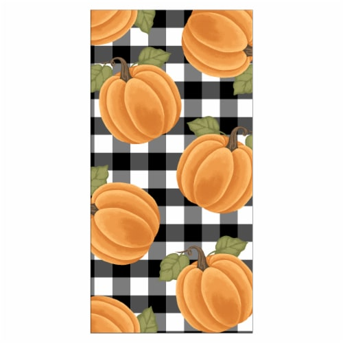 Print Dual Kitchen Towel - Pumpkin Check Perspective: front