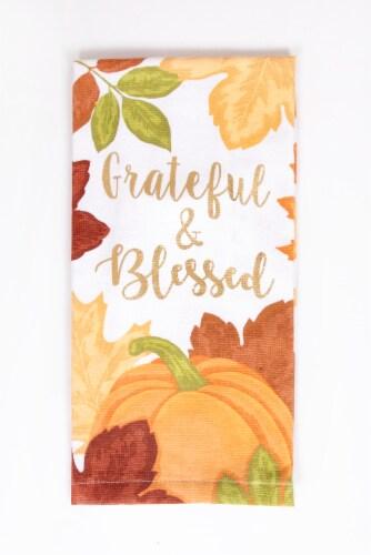 Print Dual Foil Kitchen Towel - Grateful Pumpkin Perspective: front