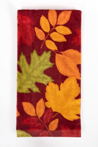 Fiber Reactive Kitchen Towel - Harvest Leaves Red Perspective: front