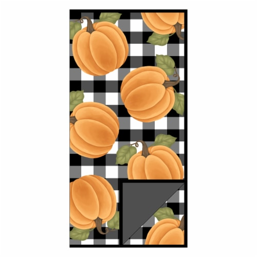 RITZ Pumpkin Check Dish Drying Mat - Orange/Black Perspective: front