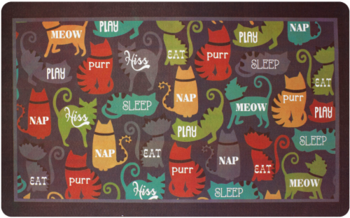 RITZ Here Kitty Kitty Print Kitchen Mat Perspective: front