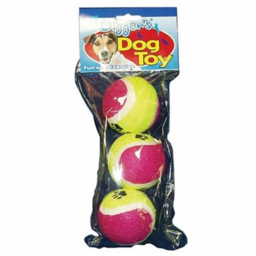 Diggers Multicolored Pet Tennis Balls Rubber Dog Toy Large 3 - Case Of: 1; Each Pack Qty: 3; Perspective: front