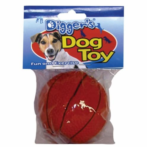 Diggers Orange Basketball Latex Dog Toy Medium - Case Of: 1; Perspective: front