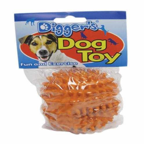 Diggers Orange Spiked Latex Ball Dog Toy Medium 1 - Case Of: 1; Perspective: front