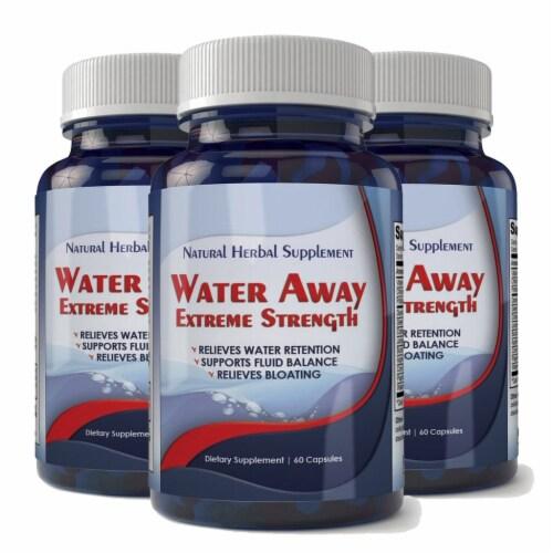 Water Away Natural Diuretic Water Pill (3 bottles) Perspective: front