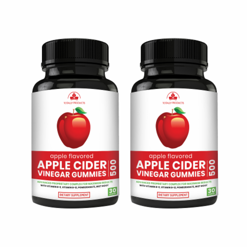 Apple Cider Vinegar Gummies with Pomegranate, Beet Root And Vitamin B6 (2 bottles) Perspective: front