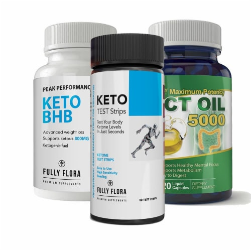 Fully Flora Keto Strips and Keto BHB and MCT Oil Combo Pack Perspective: front