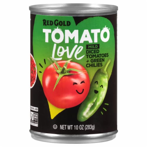 Red Gold Tomato Love Mild Diced Tomatoes + Green Chilies Perspective: front
