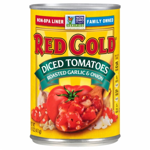 Red Gold Diced Tomatoes with Roasted Garlic & Onions Perspective: front