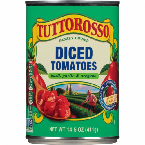 Tuttorosso® Basil Garlic & Oregano Diced Tomatoes Perspective: front