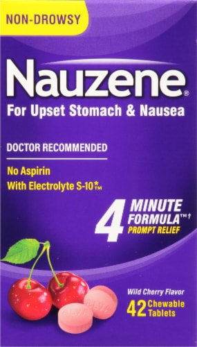 Nauzene 4 Minute Formula Wild Cherry Chewable Tablets Perspective: front
