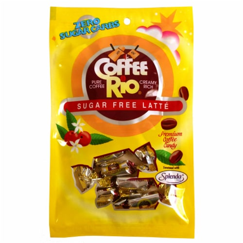 Adams & Brooks Coffee Rio Caffe Latte Sugar Free Coffee Candy Perspective: front